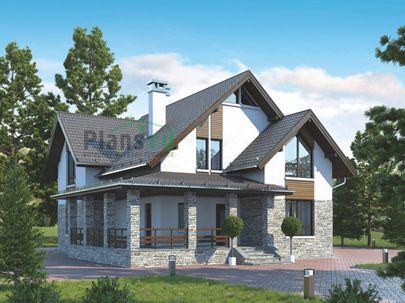 Проект дома с мансардой и цокольным этажом 11x17 метров, общей площадью 306 м2, из керамических блоков, c террасой и котельной
