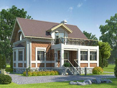 Проект дома с мансардой и цокольным этажом 11x9 метров, общей площадью 142 м2, из газобетона (пеноблоков), c террасой и котельной