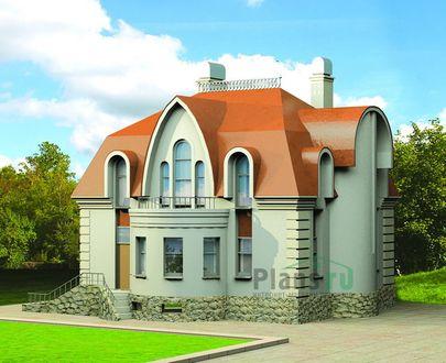 Проект дома с мансардой и цокольным этажом 12x10 метров, общей площадью 387 м2, из керамических блоков, c гаражом, бассейном, террасой и котельной