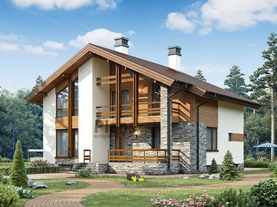Проект дома с мансардой и цокольным этажом 12x11 метров, общей площадью 226 м2, из газобетона (пеноблоков), c террасой, котельной и кухней-столовой