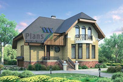 Проект дома с мансардой и цокольным этажом 12x11 метров, общей площадью 244 м2, из газобетона (пеноблоков), c гаражом и кухней-столовой
