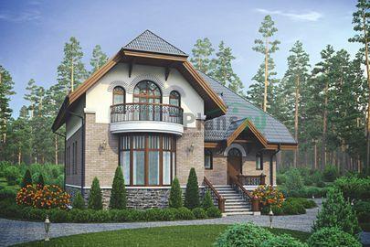 Проект дома с мансардой и цокольным этажом 12x11 метров, общей площадью 244 м2, из газобетона (пеноблоков), c гаражом, террасой, котельной и кухней-столовой