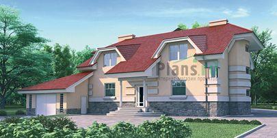 Проект дома с мансардой и цокольным этажом 12x11 метров, общей площадью 413 м2, из керамических блоков, c гаражом, террасой, котельной и кухней-столовой