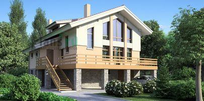 Проект дома с мансардой и цокольным этажом 12x13 метров, общей площадью 222 м2, из керамических блоков, со вторым светом, c гаражом, террасой и котельной