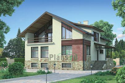 Проект дома с мансардой и цокольным этажом 12x13 метров, общей площадью 334 м2, из керамических блоков, c котельной, лоджией и кухней-столовой