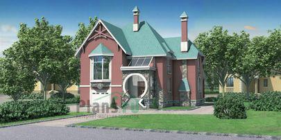 Проект дома с мансардой и цокольным этажом 12x14 метров, общей площадью 256 м2, из керамических блоков, со вторым светом, c гаражом