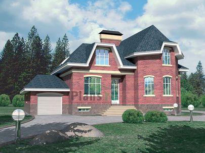 Проект дома с мансардой и цокольным этажом 12x15 метров, общей площадью 299 м2, из керамических блоков, c гаражом, террасой и котельной