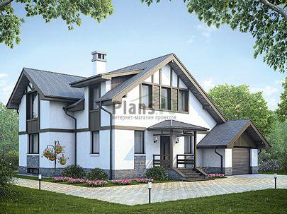 Проект дома с мансардой и цокольным этажом 13x11 метров, общей площадью 227 м2, из газобетона (пеноблоков), c гаражом, террасой, котельной и кухней-столовой