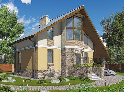 Проект дома с мансардой и цокольным этажом 13x12 метров, общей площадью 185 м2, из газобетона (пеноблоков), c котельной, лоджией и кухней-столовой