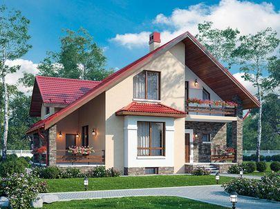 Проект дома с мансардой и цокольным этажом 13x12 метров, общей площадью 262 м2, из керамических блоков, c террасой, котельной и кухней-столовой
