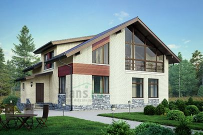 Проект дома с мансардой и цокольным этажом 13x12 метров, общей площадью 275 м2, из керамических блоков, c котельной, лоджией и кухней-столовой