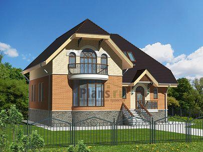 Проект дома с мансардой и цокольным этажом 13x13 метров, общей площадью 244 м2, из керамических блоков, c котельной и кухней-столовой