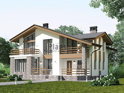 Проект дома с мансардой и цокольным этажом 13x13 метров, общей площадью 308 м2, из керамических блоков, c террасой, котельной и кухней-столовой