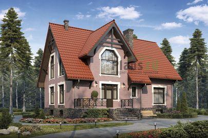 Проект дома с мансардой и цокольным этажом 13x14 метров, общей площадью 252 м2, из керамических блоков, c террасой, котельной и кухней-столовой