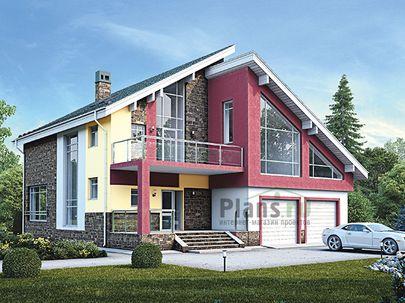 Проект дома с мансардой и цокольным этажом 13x15 метров, общей площадью 330 м2, из керамических блоков, c гаражом, террасой, котельной и кухней-столовой