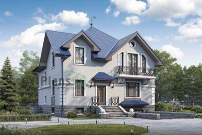 Проект дома с мансардой и цокольным этажом 13x18 метров, общей площадью 281 м2, из керамических блоков, c гаражом, котельной и кухней-столовой