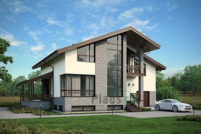 Проект дома с мансардой и цокольным этажом 14x11 метров, общей площадью 306 м2, из керамических блоков, c гаражом, террасой, котельной и кухней-столовой