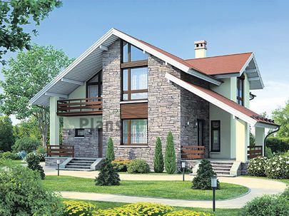 Проект дома с мансардой и цокольным этажом 14x13 метров, общей площадью 260 м2, из керамических блоков, c террасой, котельной и кухней-столовой
