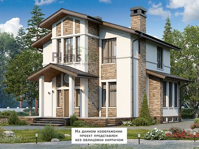 Проект дома с мансардой и цокольным этажом 14x14 метров, общей площадью 205 м2, из керамических блоков, c террасой, котельной и кухней-столовой