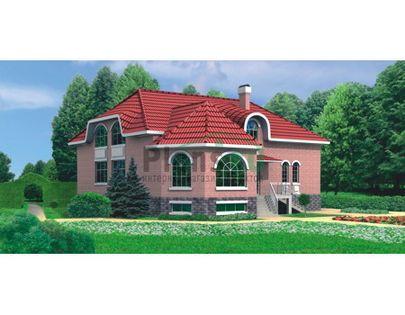 Проект дома с мансардой и цокольным этажом 14x14 метров, общей площадью 258 м2, из керамических блоков, c котельной и кухней-столовой