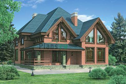 Проект дома с мансардой и цокольным этажом 14x15 метров, общей площадью 228 м2, из керамических блоков, c террасой и котельной