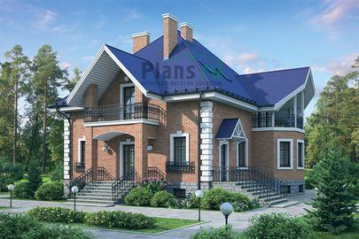 Проект дома с мансардой и цокольным этажом 14x15 метров, общей площадью 333 м2, из керамических блоков, c зимним садом и котельной