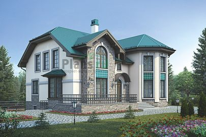 Проект дома с мансардой и цокольным этажом 14x17 метров, общей площадью 279 м2, из керамических блоков, c террасой, котельной и кухней-столовой