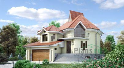 Проект дома с мансардой и цокольным этажом 14x19 метров, общей площадью 346 м2, из керамических блоков, со вторым светом, c гаражом, бассейном, террасой, котельной и кухней-столовой