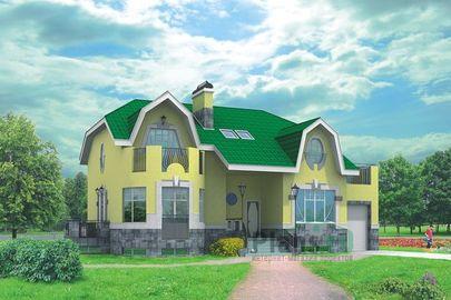 Проект дома с мансардой и цокольным этажом 15x10 метров, общей площадью 287 м2, из керамических блоков, c гаражом, бассейном, котельной и кухней-столовой
