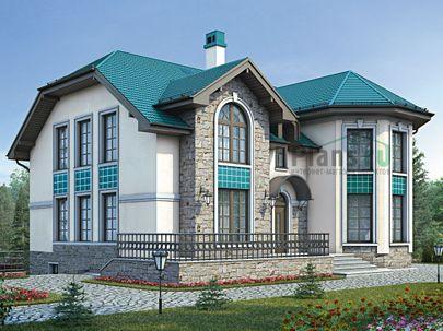 Проект дома с мансардой и цокольным этажом 15x14 метров, общей площадью 341 м2, из керамических блоков, c террасой, котельной и кухней-столовой