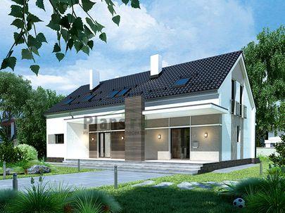 Проект дома с мансардой и цокольным этажом 16x12 метров, общей площадью 248 м2, из газобетона (пеноблоков), c террасой, котельной и кухней-столовой