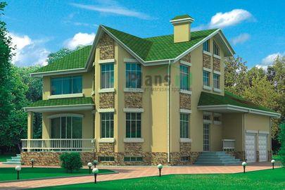 Проект дома с мансардой и цокольным этажом 16x12 метров, общей площадью 366 м2, из керамических блоков, c гаражом, террасой, котельной и кухней-столовой