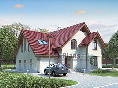Проект дома с мансардой и цокольным этажом 16x15 метров, общей площадью 315 м2, из керамических блоков, c гаражом, террасой, котельной и кухней-столовой