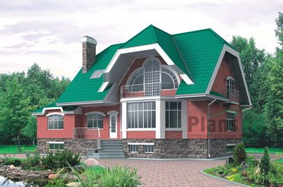 Проект дома с мансардой и цокольным этажом 17x8 метров, общей площадью 315 м2, из керамических блоков, c котельной и кухней-столовой