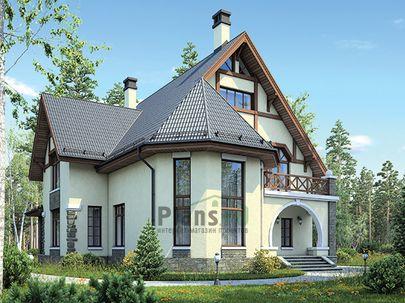 Проект дома с мансардой и цокольным этажом 18x15 метров, общей площадью 259 м2, из керамических блоков, со вторым светом, c гаражом, террасой, котельной и кухней-столовой