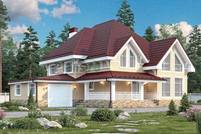Проект дома с мансардой и цокольным этажом 18x17 метров, общей площадью 340 м2, из керамических блоков, c гаражом, террасой, котельной и кухней-столовой