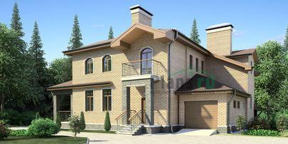 Проект дома с мансардой и цокольным этажом 18x17 метров, общей площадью 388 м2, из керамических блоков, со вторым светом, c гаражом, террасой, котельной и кухней-столовой