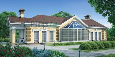 Проект дома с мансардой и цокольным этажом 28x9 метров, общей площадью 358 м2, из керамических блоков, c бассейном