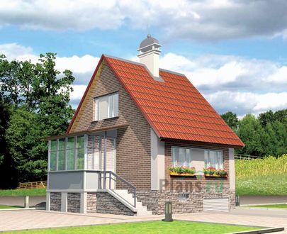Проект дома с мансардой и цокольным этажом 6x8 метров, общей площадью 115 м2, из газобетона (пеноблоков), c гаражом, котельной и кухней-столовой