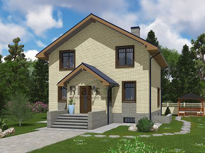 Проект дома с мансардой и цокольным этажом 8x10 метров, общей площадью 176 м2, из газобетона (пеноблоков), c котельной и кухней-столовой
