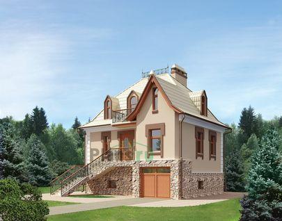 Проект дома с мансардой и цокольным этажом 8x7 метров, общей площадью 126 м2, из газобетона (пеноблоков), c котельной и кухней-столовой