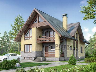 Проект дома с мансардой и цокольным этажом 9x14 метров, общей площадью 252 м2, из керамических блоков, c террасой, котельной и кухней-столовой