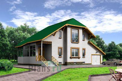 Проект дома с мансардой и цокольным этажом 9x15 метров, общей площадью 228 м2, из газобетона (пеноблоков), c гаражом и кухней-столовой