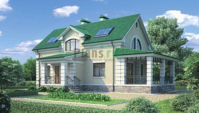 Проект дома с мансардой и цокольным этажом 9x16 метров, общей площадью 192 м2, из керамических блоков, c террасой, котельной и кухней-столовой