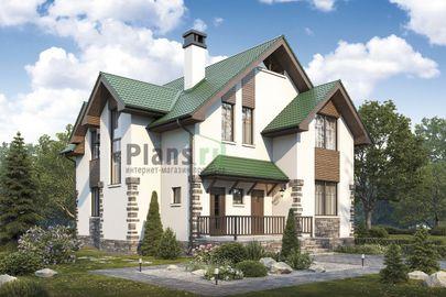 Проект дома с мансардой, общей площадью 173 м2, из кирпича, c террасой, котельной и кухней-столовой