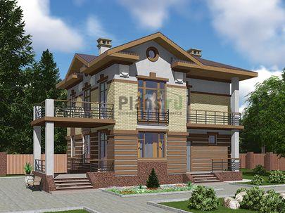 Проект двухэтажного дома 10x10 метров, общей площадью 126 м2, из газобетона (пеноблоков), c террасой, котельной и кухней-столовой