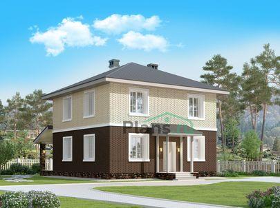 Проект двухэтажного дома 10x10 метров, общей площадью 133 м2, из керамических блоков, c террасой, котельной и кухней-столовой