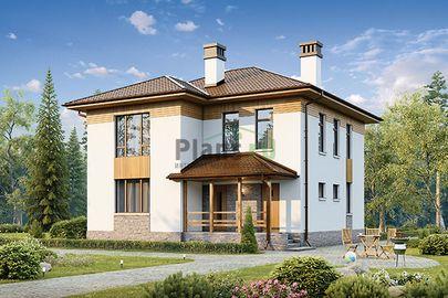 Проект двухэтажного дома 10x10 метров, общей площадью 141 м2, из газобетона (пеноблоков), c террасой и котельной