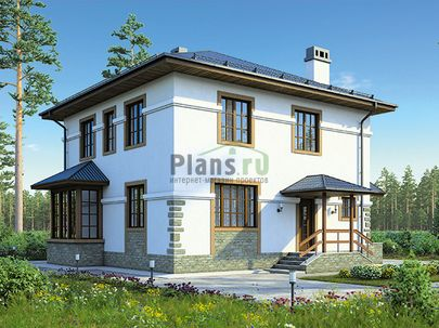 Проект двухэтажного дома 10x10 метров, общей площадью 142 м2, из керамических блоков, c террасой, котельной и кухней-столовой