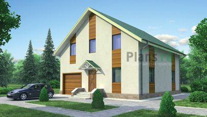 Проект двухэтажного дома 10x10 метров, общей площадью 166 м2, из газобетона (пеноблоков), c гаражом и котельной